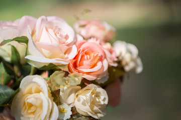close up Bouquet of beautiful roses on a blurred background