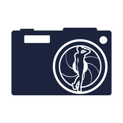 Illustration of photo camera icon with lens aperture and woman silhouette
