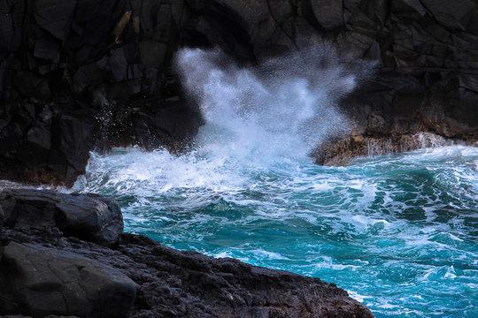 Waves Crashing on Lava Rocks