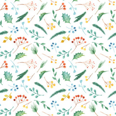 Watercolor Christmas seamless pattern with plants. Texture with fir branches, holly, berries, pine, leaves. Illustration for new year wallpaper, packaging, scrapbooking, greeting cards.