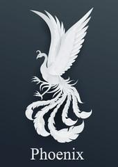 phoenix paper cut style on black background.