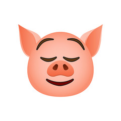 Pig in easy pleasant smile emoji icon. Element of new year symbol icon for mobile concept and web app. Detailed Pig in easy pleasant smile emoji icon can be used for web and mobile