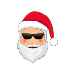 Emoji Santa Claus. Winter Holidays Emoticon. Santa Clause in cool in sunglasses emoji icon