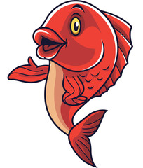 Cartoon fish mascot waving