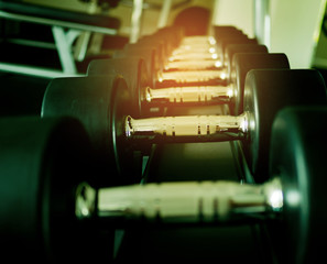 dumbbells, fitness equipment and accessories