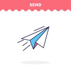 Send icon, vector. Paper airplane. Flat design. Advantage icon.