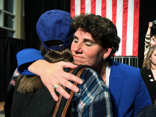 Democratic congressional candidate Amy McGrath thanks her supports after conceding at her midterm election night party in Richmond