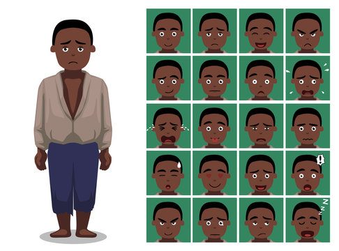Black History Male Slave Cartoon Emoticon Faces Vector Illustration