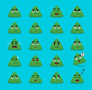 Zongzi Cartoon Emoticon Faces Vector Illustration