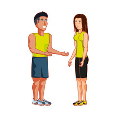 young athletic couple avatar character