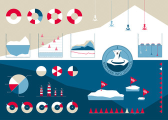 7154095 Infographics in the northern style with icebergs