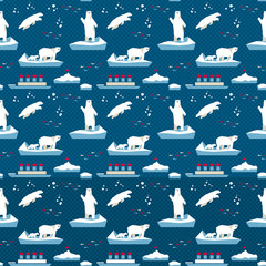 7154099 White bear seamless pattern