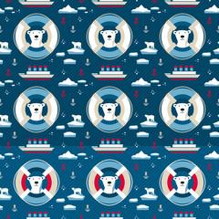 7146955 Polar bear seamless pattern with lifebuoy