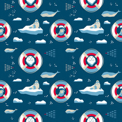 7146938 Seamless pattern in nordic style. Seal and captain