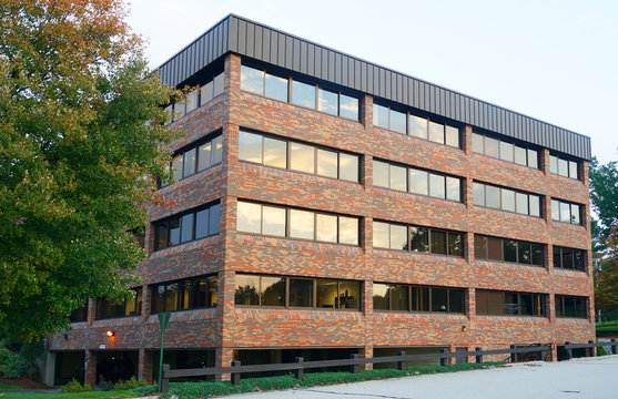 single office building exterior in industrial area