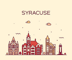 Wall Mural - Syracuse skyline New York USA vector linear style