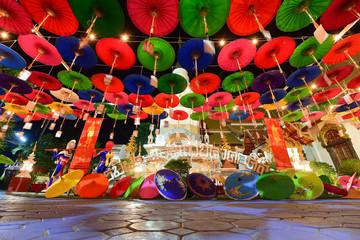 Miracle  Lanna Umbrella Festival at Wat Phra Pan, Chiangmai, Thailand