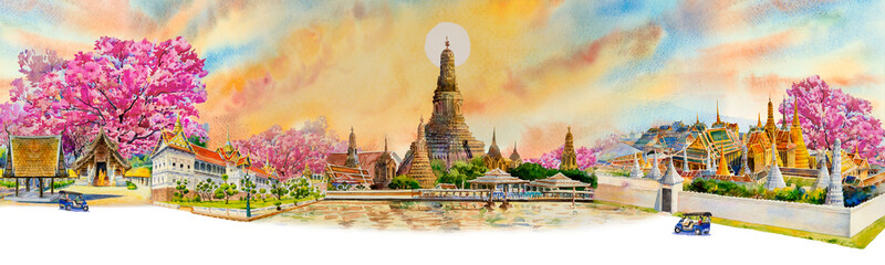 Panorama view famous landmarks in Thailand.