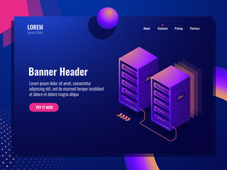 File and digital data backup and transfer isometric icon, server room, cloud storage and datacenter, big data processing dark neon