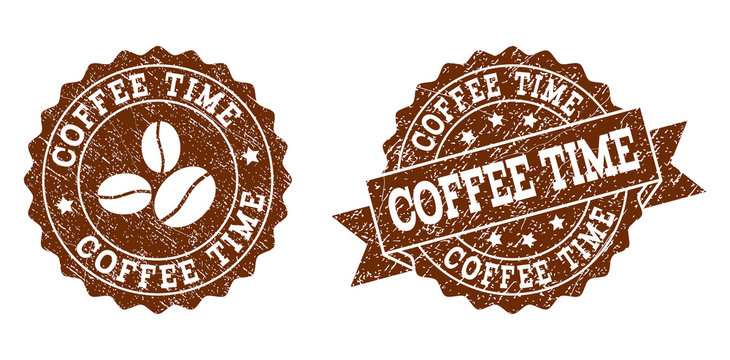 Coffee Time rubber stamps. Vector seals in chocolate color with round, ribbon, rosette, coffee bean elements. Grainy design and dust texture are used for Coffee Time rubber imprints.