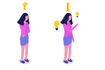 Problem solving concept. Isometric woman thinking with question mark and light bulb icons.