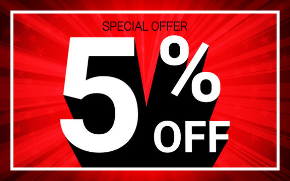 5% OFF Sale. White color 3D text and black shadow on red burst background design. Discount special offer promo advertising concept vector illustration.