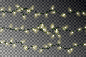 Christmas color lights string vector. Transparent colorful effect decoration isolated on dark backgr