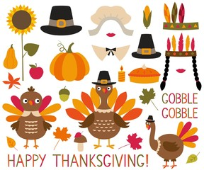 Thanksgiving and fall decoration set (turkeys, pumpkins, pilgrim hats)