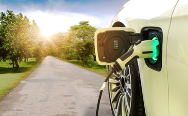 Electric car or EV car charging in station on asphalt road in beautiful park with trees in morning time background.  Eco-friendly alternative energy concept