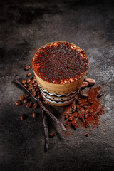 Coffee spiced with cocoa powder and vanilla