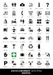 日本の主要案内図用記号(ピクトグラム)/新記号対応・説明文付き