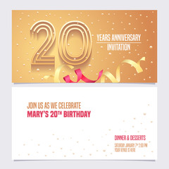 20 years anniversary invitation vector illustration. Design element