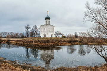 Church of the Intercession on the Nerl in late autumn in Bogolyubovo, Vladimir region, Russia