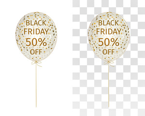 Translucent balloon with gold spangles with the inscription Black Friday 50 percent off