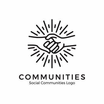logo holding hands. community logo with monoline style