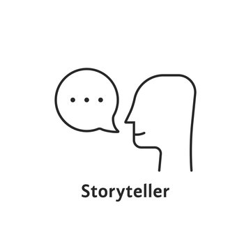 thin line storyteller black icon
