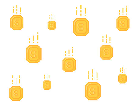 lot of falling yellow coins in pixel art