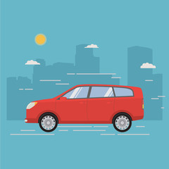 City family crossover. Car of red color body type hatchback. A city landscape with skyscrapers. In flat style a vector a concept of design of a poster for the website sale and repair of vehicles.SUV