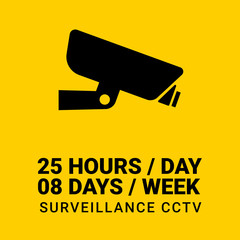 25 hours non-stop CCTV box sign in yellow background
