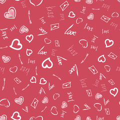 Interesting seamless pattern for Valentine's day. The combination of dark pink and white tones.