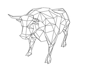 Abstract polygonal bull. Isolated on white background. Vector illustration.