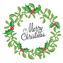 Christmas wreath for background, card, banner.