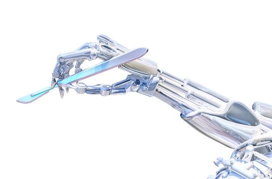 Robot surgeon hand holding scalpel. Robotic surgery concept. 3D illustration