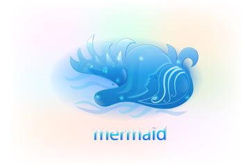 Mermaid on fantasy sea logo vector image
