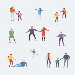A set of people skating on winter ice. flat design style vector graphic illustration.
