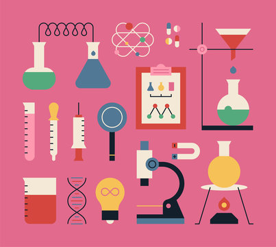 Set of colorful science experiment tools icons. flat design style vector graphic illustration.