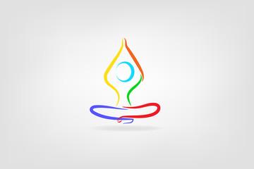 Logo yoga man vector image design