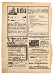 Old paper sheet Vintage shop advertising page shopping catalog