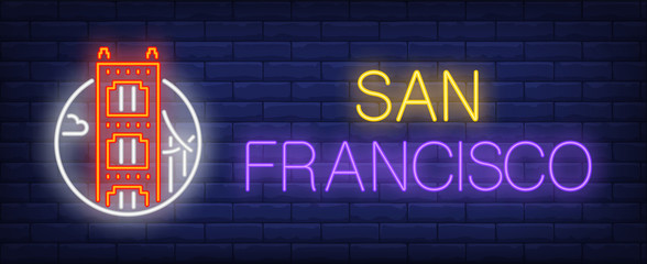 San Francisco neon sign. Golden gate bridge in circle on brick wall background. Vector illustration in neon style for travel signs and billboards