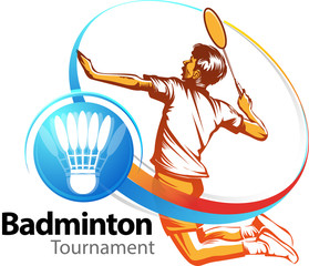 Vector illustration, badminton players in action as a symbol or icon Badminton tournament event